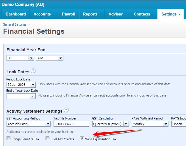 Xero WET Tax Financial Settings