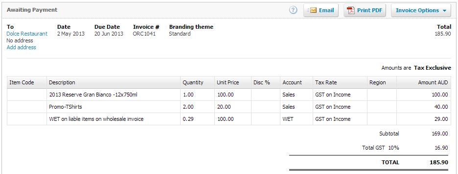 Xero WET Tax Posted Invoice