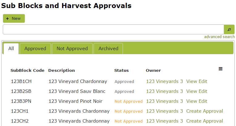 HarvestApprovalList