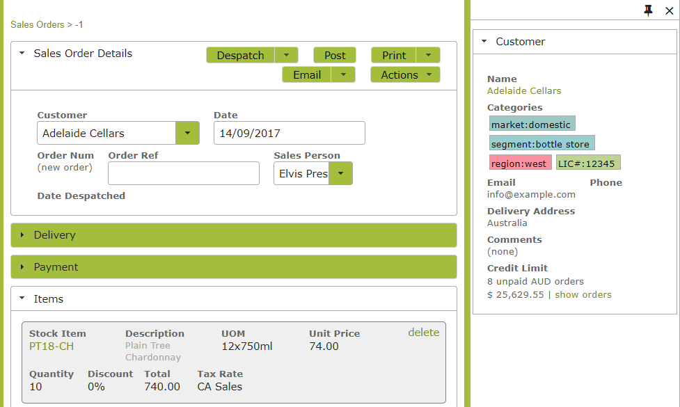 xero-tracking-categories-vinsight-salesorder