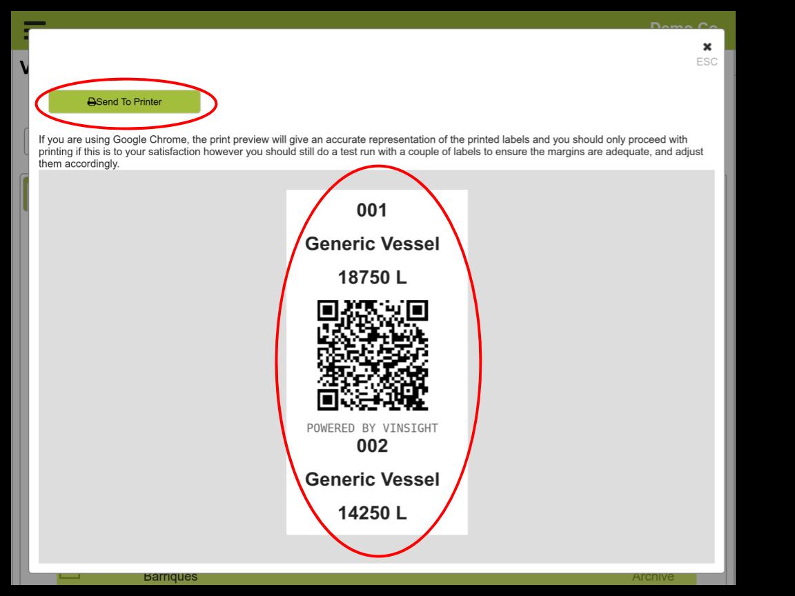 Vinsight Documentation   Vessel Label Printing In Vinsight